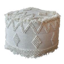 Tufted Soft Wool Ivory White Cube Ottoman | Bohemian Ikat Pouf Tribal Fringe