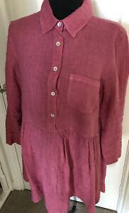 Italian Pink Longline Linen Shirt Size L