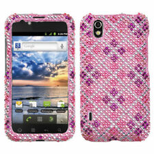 For LG Marquee Crystal Diamond BLING Hard Case Phone Cover Pink Purple Plaid