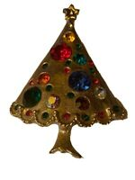 Multi Colored Rhinestone Gold Tone Vintage Christmas Tree Pin Brooch Unsigned 2""