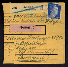 1944 Adelnau Germany Parcel Cover Loibl Pass Concentration Camp Mauthausen KZ