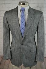 Mens Gray PURE SILK HOMESPUN Pinstripe Classic Fit Blazer Sport Coat Jacket 40R