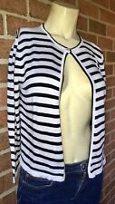 CHAPS Striped Button Neck Cropped Sleeve Lightweight Cardigan Sweater S