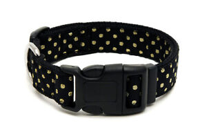 Douglas Paquette DOTS GOLD Nylon & Ribbon Adjustable Dog Collar, Lead