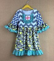 NEW Girls Boutique Ruffle Chevron Floral Gray 3/4 Sleeve Dress 4-5 5-6 6-7