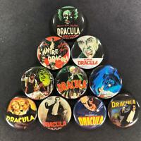 "Dracula Covers 1"" Button (10 pin) Set Vampire Nosferatu Lugosi Christopher Lee"