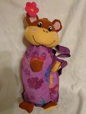 "27""x 28"" Towel Zippered Beach Monkey Back Pack 16"" Plush Soft Toy Stuffed Animal"