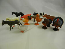 Farm Animals Dozen Toy Figures 2in. to 4in. long Plastic Horse Cow Turkey #2386