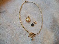 NOLAN MILLER Signed Goldtone Necklace with Faux Pearl Slide & Pendants Free Ship