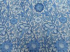 William Morris Curtain Fabric 'Pink & Rose' 3.4 METRES (340cm) Vellum/Indigo