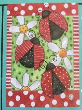 "Small 12 1/2"" x 18"" ""Lady Bugs Spring Summer Theme Garden Art Flag New"