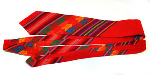 Men's Serape Handmade Aztec Woven Mexican Blanket Neck Tie Red Wool NEW