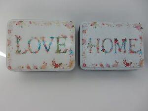 "Trinket Box Trinket Tin Jewellery Box ""Home"" ""Love"" Floral Tin Chic & Shabby"