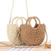 Women Wicker Handbag Totes Beach Straw Woven Summer Rattan Basket Bag Crossbody