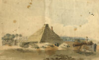 Allcot, Thatched Hut with Child Atop Cannon – Original 1807 watercolour painting