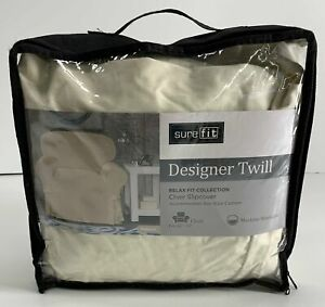 "SUREFIT Chair Slipcover NWT Fits 32""-43"" Chair Essential Twill Relaxed Fit Natur"