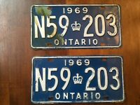Vintage Pair of 1969 Ontario Canada License Plates N59 203