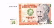 BANCO CENTRAL DE RESERVA DEL PERU 50 CINCUENTA INTIS 1987 UNCIRCULATED
