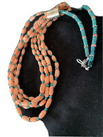 """Stunning! Navajo Pink Coral 5S Sterling Silver Turquoise Bead Necklace 24"""" 1146"""