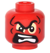 LEGO NEW RED MINIFIGURE ALIEN MONSTER FACE WHITE TEETH PIECE
