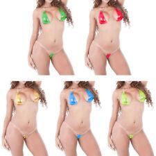 A/C Mini Micro Bikini a Triangolo WetLook Lucido Effetto PVC Spalline Invisibili