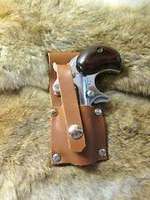 Handcrafted Steampunk  Brown Leather Derringer Belt Holster