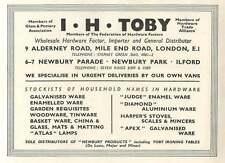 1953 I H Toby Hardware Importer Mile End Road Ad