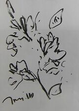 JOSE TRUJILLO EXPRESSIONISM ORIGINAL CHARCOAL DRAWING FLORAL FLOWERS BOTANICAL
