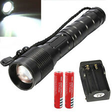 10000LM LED Flashlight Torch Light + 2X 18650 Battery + Dual Charger