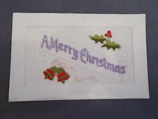 Antique Silk 1914 Christmas Postcard with Bells and Holly Needlework