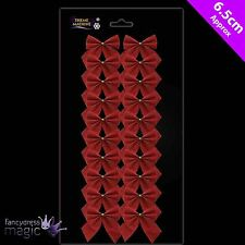 *20 Traditional Red Gold Wired Bows 6.5cm Bow Christmas Xmas Tree Decorations*
