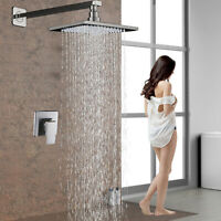 8-inch Wall Mount Rain Shower Head Bathroom Shower System Brushed Shower Faucet