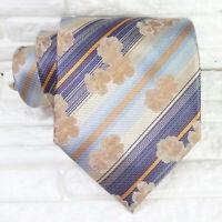 Cravatta uomo seta fiori blue & bronzo Made in Italy matrimoni business  RP € 39