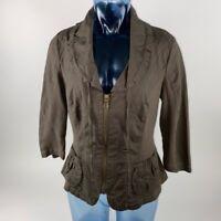 XCVI Womens Jacket Green Full Zipper Pockets Stretch Drawstring 3/4 Sleeve M
