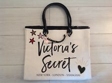 "VICTORIA'S SECRET LARGE OFF WHITE TOTE CANVAS SHOPPER/BEACH BAG ""BNWT"""