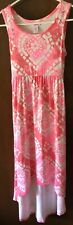 Justice Girls Dress Size 10 High Low Sleeveless Pink Bling Rhinestones Back Tie