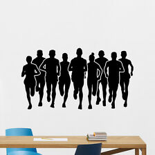 Marathon Runners Wall Decal Running Sport Gym Fitness Vinyl Sticker Decor 95nnn