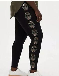 TORRID Women's Premium Leggings Sugar Skull Black Plus 4 4X 26 NWT Punk Goth
