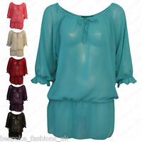 Ladies Women's Plus Size Plain Off Shoulder Sheer Baggy Gypsy Top Tee 14-28