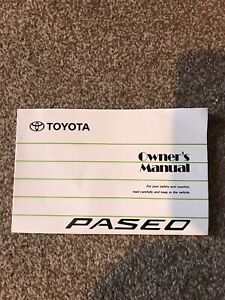 TOYOTA PASEO (EL54 SERIES) 1.5 COUPE ORIGINAL 1995 OWNERS INSTRUCTION MANUAL