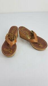 Sam Edelman ROMY Wedge Croc Brown Cork Heel Sandals Size 7.5