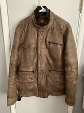 Vintage Hugo Boss Men Thermore Brown Insulate XL 44 Snap Distress Leather Jacket