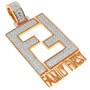 14K Rose Gold On Real Sterling Silver Family First Lab Diamonds Charm Pendant