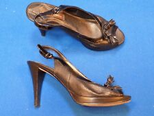 c113473abe25 8 Adrienne Vittadini Black Leather Ladies Womens High Heel Shoes AUSTIN  Open toe