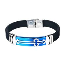Blue Men Sport Silicone Christian Cross Bracelet Wristband Jewellery COOL