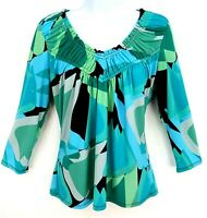 Worthington Shirt Top Womens M Blue Multicolor Geometric Gathered Neck Stretch