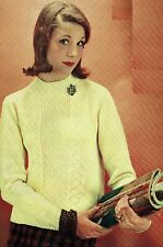 Ladies Round neck sweater jumper knitting pattern in 4 ply. pullover