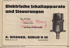 BERLIN, Werbung 1941, A. Werner Elektr. GmbH Schaltapparate Steuerungen