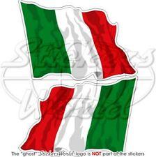 ITALIEN Wehende Flagge ITALIENISCH Fahne 75mm Auto Aufkleber x2 Vinyl Stickers