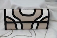 Coast Taupe Ivory & Black Satin Handbag Purse Clutch Bag with Silver Chain